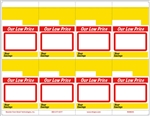 "8 ""Our Low Price"" , perforated, red, white, yellow, Vinyl adhesive shelf talkers on an 8.5"" x 11"" sheet. Each bib tag measures 2 11/16"" x 3 3/4"". Used primarily by Piggly Wiggly stores & other supermarkets, as well as discount & hardware stores."