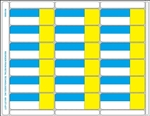 R018000-BY 18up Blue/Yellow with Face Perforation on Composite Stock w/ Removable Adhesive (formerly item # 2455483-20)