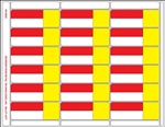 18up Red/Yellow with Face Perforation on Composite Stock w/ Removable Adhesive