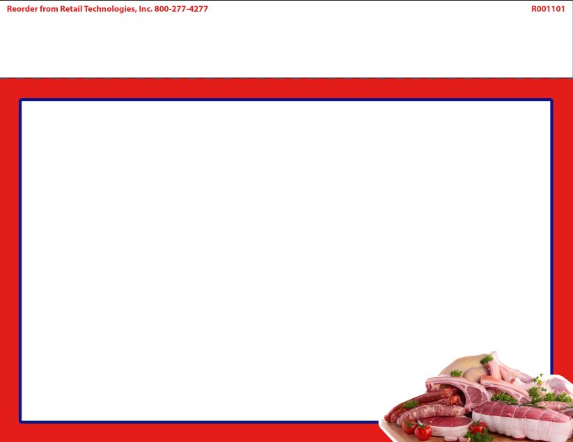 R004101 4up Corner Image Premium Cuts of Meat w/Red Border on Glossy ...