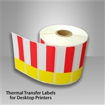 2455707-30 Red/Yellow Thermal Transfer color Labels for desktop printers, such as Zebra, Datamax, & Honeywell brand printers.