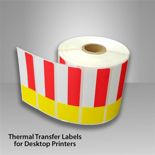 2455707 30 roll of red yellow thermal transfer labels with removable
