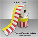 2455707-30-5ct. Red/Yellow Thermal Transfer color Labels for desktop printers, such as Zebra, Datamax, & Honeywell brand printers.