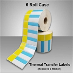 2455707-33 Blue/Yellow Thermal Transfer Labels for desktop printers, such as zebra and honeywell brand printers.