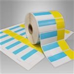 2455715-116 Roll Blue/Yellow Direct Thermal Labels for desktop printers, such as zebra and honeywell brand printers.