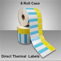 2455715-116 Blue/Yellow Direct Thermal Labels for desktop printers, such as zebra and honeywell brand printers.