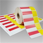 2455715-126-1 Red & Yellow Direct Thermal Labels for desktop printers, such as zebra and honeywell brand printers.