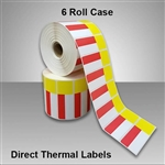 2455715-126 Red/Yellow Direct Thermal Labels for desktop printers, such as zebra and honeywell brand printers.