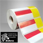"2457556-19-RY Red/Yellow Direct Thermal Adhesive Shelf Labels 3.3125"" x 1.1875"""