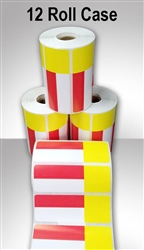 "2457556-19-RY-12ct Red/Yellow Direct Thermal Adhesive Shelf Labels 3.3125"" x 1.1875"""