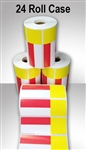 "2457556-19-RY-24ct Case of 24 Rolls of Red/Yellow Direct Thermal Adhesive Shelf Labels 3.3125"" x 1.1875"""