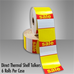 Red/Yellow Direct Thermal SALE Talkers for desktop printers, such as zebra and honeywell brand printers.
