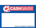 R001021 1up Blue and red Cash Saver plus 10% added at register sign