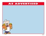 "R001036 1up 8.5"" x 11"" sign for Piggly Wiggly banner stores. Featuring Pig holding two bags of groceries with light blue background, and ""As Advertised"" highlighted in red. 100 sheets per pack."