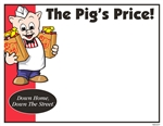 "R001037 1up 8.5"" x 11"" sign for Piggly Wiggly banner stores. Featuring Pig holding two bags of groceries, and ""The Pig Price"", and ""Down Home, and Down the Stree"" slogans. Produced on glossy card stock. 100 sheets per pack."