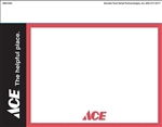 "One 7"" x 11"" red, black, and white card stock signs on an 8.5"" x 11"" sheet. Features the registered ACE Hardware store logo and slogan, ""ACE The Helpful Place"""
