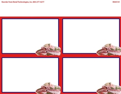 R004101 4up w/Margin Corner Image Premium Cuts of Meat w/Red Border on Glossy Cardstock