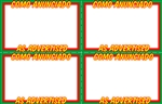 "Four 5.5"" x 3.5"" Green, red, yellow, & white cardstock signs on an 11"" x 7"" sheet. Featuring As Advertised and Como Anunciado"