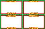 "Four 5.5"" x 3.5"" Green, red, yellow, & white cardstock signs on an 11"" x 7"" sheet. Featuring SALE and VENTA"
