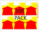 "6 Red Arrows on yellow background with white top on an 8.5"" x 11"" adhesive sheet"