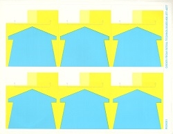 "R006001-B 6up Composite Yellow with Blue Arrow Adhesive Shelf Talker w/Horseshoe Cut 3 5/16"" x 3 15/16"""