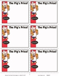 "R006037 six signs on an 8.5"" x 11"" sheet for Piggly Wiggly banner stores. Featuring Pig holding two bags of groceries and ""THE PIG PRICE"". 100 sheets per pack."