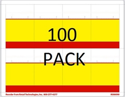 "R008090-RY-100pk 8up Red & Yellow Bar Adhesive Shelf Talker w/Horseshoe Cut 2-1/2"" x 3-27/32"""