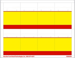 "R008090-RY 8up Red & Yellow Bar Adhesive Shelf Talker w/Horseshoe Cut 2-1/2"" x 3-27/32"""
