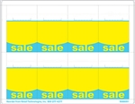 "R008091-BY 8up Blue & Yellow ""SALE"" Adhesive Shelf Talker w/Horseshoe Cut 2-1/2"" x 3-27/32"""