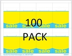 "R008091-BY-100pk 8up Blue & Yellow ""SALE"" Adhesive Shelf Talker w/Horseshoe Cut 2-1/2"" x 3-27/32"" 100 sheet pack"