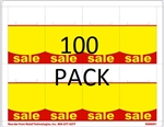 "R008091-RY-100pk 8up Red & Yellow ""SALE"" Adhesive Shelf Talker w/Horseshoe Cut 2-1/2"" x 3-27/32"" 100 sheet pack"