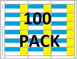 18up Blue/Yellow with Face Perforation on Composite Stock w/ Removable Adhesive