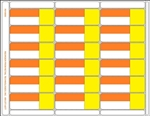 "R018000-OrY 18up Orange/Yellow 3-in-1 Labels with Face Perforation on Eco Friendly Composite Stock w/ Removable Adhesive. 3 different size adhesive labels (a) 3-5/16"" x 1-3/16"" (b) 1-1/16"" x 1-3/16"" (c) 2-3/16"" x 1-3/16"" on one 8.5"" x 11"" sheet."