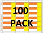R018000-OrY-100pk 18up Orange/Yellow 3-in-1 label with Face Perforation on environmentally friendly Composite Stock w/ Removable Adhesive allowing for easy no sticky residue removal.