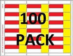 Item # R018000-ry-100pk 18up Red, yellow, white 3-in-1 eco-friendly composite shelf labels for retail gondola shelves. Removable adhesive allows for easy, no mess removal. 100 sheets per pack.